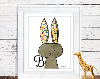 Bunny Illustration Children's Alphabet Printable - Instant Download 8x10
