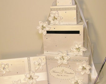Wedding  Card Box, 4 Sets, 4 tier White Card Box, Guest book and Pen/Pen Holder .Gift Card Box  Money Box Holder-Customize your color