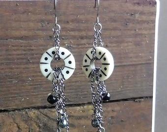 Gunmetal Chain Earrings - Carved Bone Donut, Gunmetal Silver Chain, Dangle Earrings