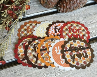 Fall Themed Gift Tags - FOR You and Thank You autumn colored Party Favor Tags - set of 9 Gift Tags