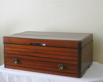 Large Vintage Silverware Chest with Pull Out Serving Tray, Solid Mahogany Wood Mid Century Modern Utensil Storage, AS IS