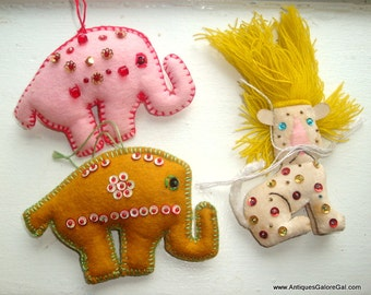 Set of Three Vintage Felt Christmas Ornaments, Sequins, Pink and Gold Elephants, Lion, Circus Animals, Hand Crafted, Holiday Decor  (224-16)