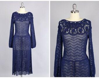 1930s Dress / Fabulous Navy Rayon Knit Dress