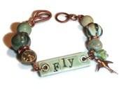 Ceramic Bracelet. Fly Message. Ceramic and Copper Bracelet. Boho. Organic