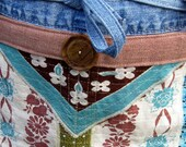 Tough Garden Tool Apron for Women--One of a Kind, Upcycled from Old Jeans and Vintage Blue, Brown and Green Fabrics,  Handmade in NC