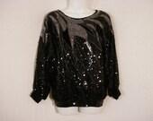 Black Beaded Sequin Velvet Satin Dolman Sleeve Vintage Blouse Top Evening Wear Abstract Chic