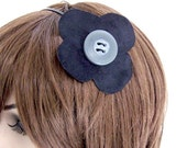 SALE Flower Fascinator Headband - Skinny Black Metal Headband w/ Black Faux Suede Flower & Gray Button
