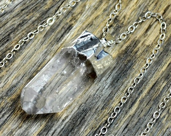 Raw Crystal Necklace, Crystal Pendant, Sliver Crystal, Crystal Necklace Pendant, Quartz Necklace, Crystal Point, Sterling Silver Chain