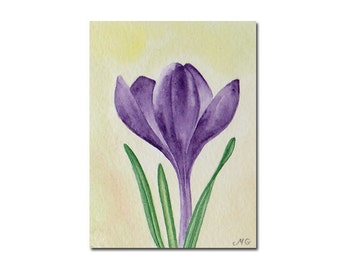 ACEO Original Watercolor Painting, Crocus Flower, Miniature Painting, Small Flower Painting, Purple Flower, Art and Collectables, Floral Art