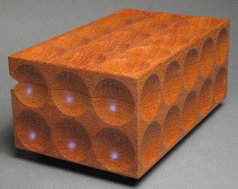 Leopardwood Jewelry Box with Removable Trays for small and large jewelry items, 'The Matrix Box'
