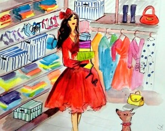 Fashion Illustration/ fashion drawing .Fancy Closet . Unique Art  by Irish Artist Ros Webb
