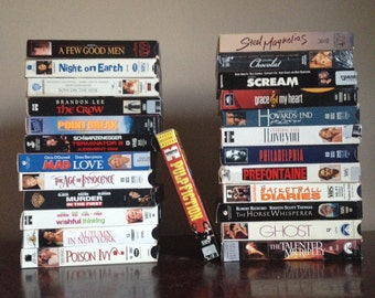 Set of 25 Vintage 1990s VHS Movies. Barrymore, Dicaprio, Ryder, Depp, Thurman, Damon.