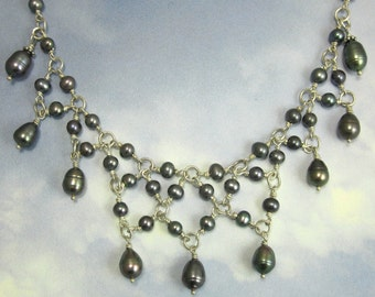 Sterling Silver Wire Wrapped Blue Pearl Necklace with Sterling Silver Chain