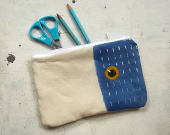 blue hand painted pencils pouch handmade in cotton - zippered purse