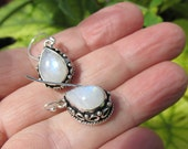 Beautiful Moonstone Drop Earrings, 925 Silver Overlay