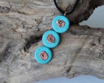 mint blue turquoise pendant kinetic caterpillar pendant mint blue turquoise gemstone casual pendant with copper spirals made in Israel