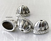 20mm Large Fancy Oval Cones, Antiqued Silver 4 Bead Caps