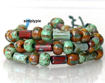 1/0 Tuscany Striped w Tile Tube Picasso Mix 6-Inch Long Strand 29B Aged Glass Seed Beads