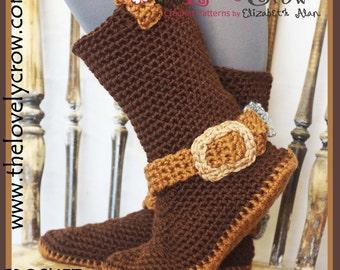 Crochet Pattern Cowboy Boots (Women Sizes)