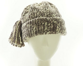 Organically Grown COTTON BEANIE HAT / Lion Brand Yarn Knit Cap / Handmade by Marcia Lacher Hats