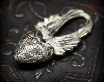 New! Steampunk heart with wings charm in sterling silver