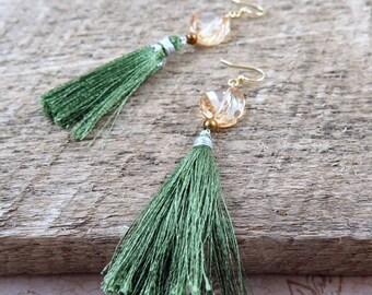 Green Tassel Earrings, Silk Tassel Earrings, Fringe Earrings, Holiday Tassel Earrings, Swarovski Golden Shadow Earrings, Holiday Jewelry
