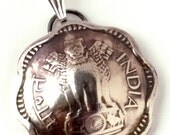 Beautiful Lion Silver Tone India Coin Pendant Jewelry Scalloped Edges Bead Foreign World Indian Travel Ethnic Upcycled Boho Jewelry