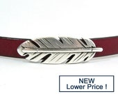 25% OFF Large Feather Sliders for 10mm Flat Leather - Antique Silver - SP174 - Choose Your Quantity