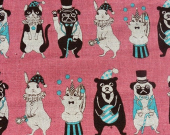 1 yard - Circus Animal in pink, Japanese import