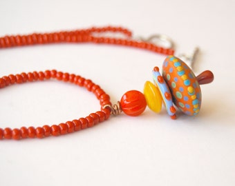 Colorful Pendant Necklace, Polka Dot Necklace, Red Necklace, Beaded Necklace, Lampwork Glass Bead Necklace