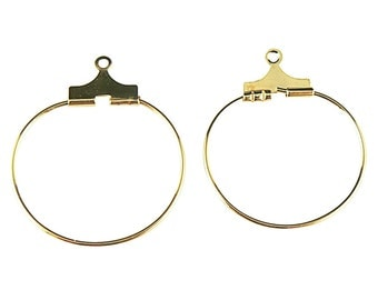 20mm gold plated beading hoops, 24 pcs. (12 pair). For earrings, pendants, drops, links, connectors, focal components. necklaces, & more
