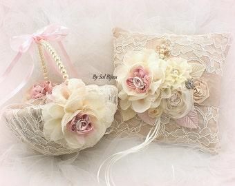 Ring Bearer Pillow, Flower Girl Basket, Champagne, Tan, Blush, Pink, Ivory, Elegant Wedding, Lace, Pearls, Crystals, Brooch, Vintage Style