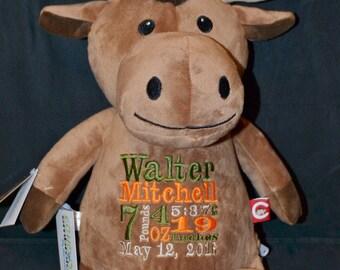 Moose  Birth Announcement Baby Keepsake Plush Stuffed Animal Cubbie Personalized