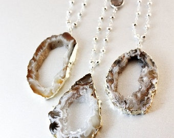 ON SALE Agate Geode Slice Necklaces - Silver Pyrite Chain - Smokey Quartz, Layering Necklaces