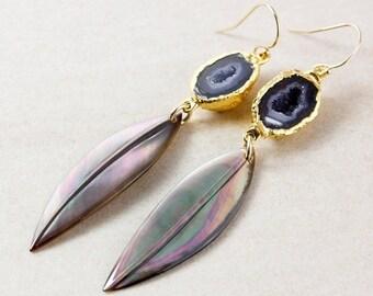 25% OFF Gold Black Geode & Black Mother of Pearl Leaf Earrings - Long Earrings