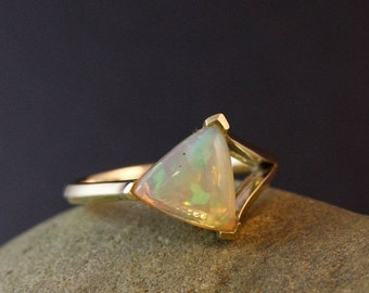25% OFF Triangle Australian Opal Ring - Sideway Triangle - Unique Heirloom Ring