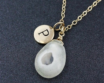 CLEARANCE SALE White Solar Quartz Initial Necklace - Silver or Gold - Personalized
