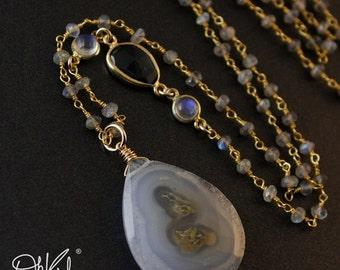 40 OFF SALE Solar Quartz - Labradorite - London Blue Topaz - Rainbow Moonstone Layering Necklace