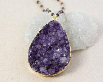 Teardrop Purple Druzy Necklace – Layering – Select Your Favorite Stones