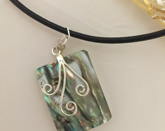 "Nice Abalone Pendant on 18"" Cord with easy close clasp"