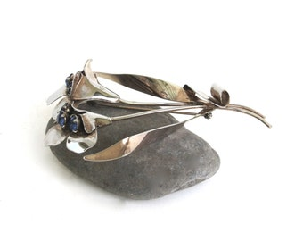 large coro floral brooch ...   vintage sterling silver pin  ...   flower brooch  ...   vintage gift