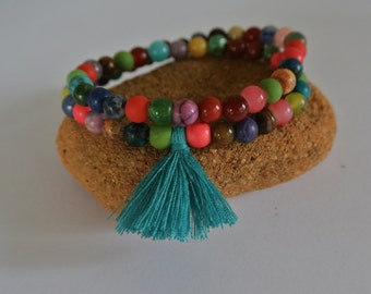 Justhipstuff Gemstone Beaded Stretchy Tassel Bracelet