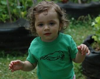 Screenprinted Cuttlefish Baby Toddler Green Shirt