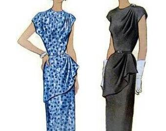 Vintage 1951 Draped Front Peplum Pleated Shoulder Midi Dress Pattern 1950s McCalls 8372 Bust 32