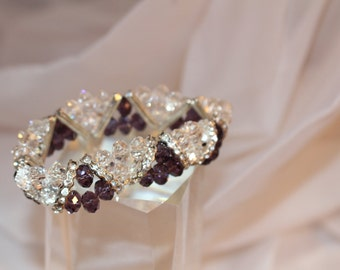 Gem Tri Bracelet: deep purple/clear
