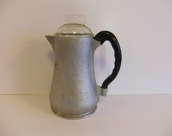 Vintage Aluminum Coffee pot Silver pitcher Server Bakelite handle glass top cover