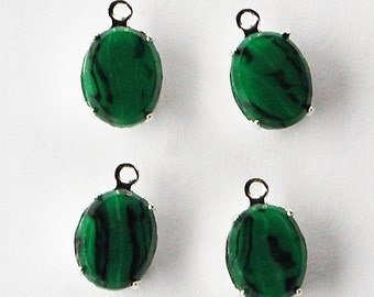 Vintage Green Glass in Sterling Silver Plated Settings 4 Malachite Green Glass Oval Pendants 8x10mm