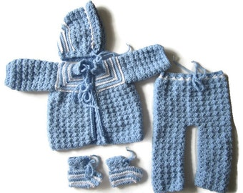 0-3 Month  Sweater Set, Baby Boy Outfit, Blue and White Outfit, Crocheted Sweater Set, Layette