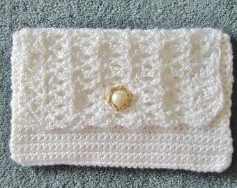 Crocheted White Clutch Purse