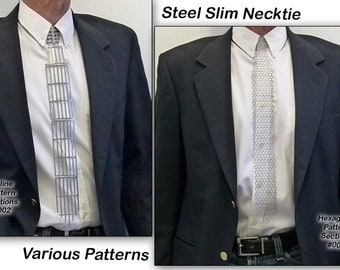 Steel Metal, Slim Necktie, Various Patterns